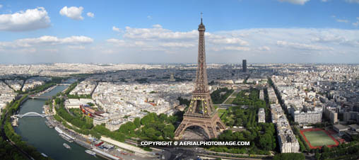 Eiffel Tower Aerial Panorama, Paris, France