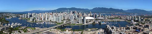Aerial Panorama - Athletes Olympic Village & Vancouver downtown